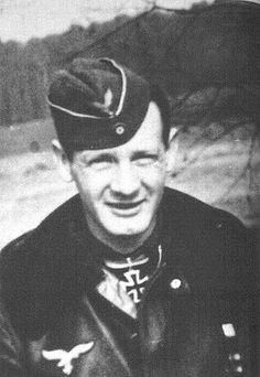 """Oberleutnant Rudolf """"Rudi"""" Rademacher . His final score is a matter of some conjecture. Sources claim his total to be 97, 102 and 126 in more than 500 missions. Some claim he had an additional 23 unconfirmed victories. It is thought he gained 76 victories over the Eastern front with JG 54, including 21 Il-2 Stormoviks and 7 Pe-2, and a further five whilst with JGr. Nord. To this can be added his jet victories, at least 16, including 11 four-engined bombers."""