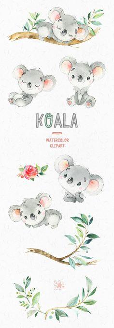 Koala. Little animals watercolor clipart Australia koala
