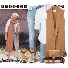tan vest hijab style, Hijab trends mix and match… Hajib Fashion, Modern Hijab Fashion, Street Hijab Fashion, Islamic Fashion, Muslim Fashion, Fashion Outfits, Casual Hijab Outfit, Hijab Chic, Modele Hijab