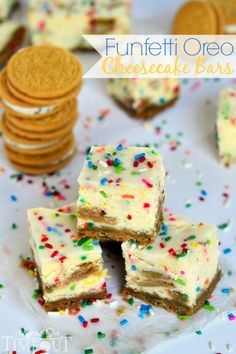 These Funfetti Oreo Cheesecake Bars prove that cheesecake CAN be fun!   MomOnTimeout.com #CookUpCozy