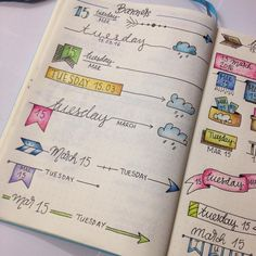 Bullet journal - daily spread headers