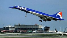 """"""" The unique Pepsi Concorde. In Pepsi struck a deal with Air France to promote their re-branding and new corporate logo, so an Aérospatiale-BAC Concorde, tail number F-BTSD (affectionately referred to as """"Sierra Delta"""") was painted. Sud Aviation, Civil Aviation, Commercial Plane, Commercial Aircraft, Concorde, Images Graffiti, Tomcat F14, Airplane Painting, Photo Avion"""