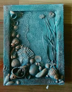 mixed media canvas/seashell/sand