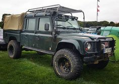 "#Landrover #Defender 130"" crewcab parked-up amongst a vast variety of LR's…"