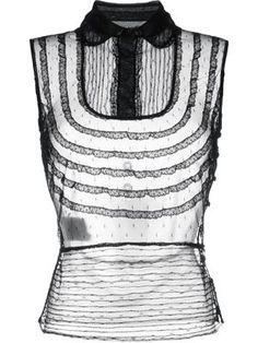 sleeveless sheer tulle shirt