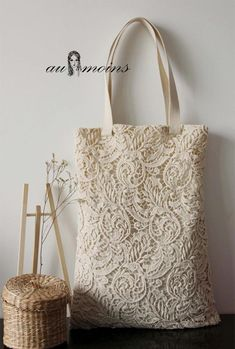 Handmade Shabby Chic Cotton Lace Tote Wedding by ShabbyChicLinenC Lace Bag, Tote Bags Handmade, Wedding Bag, Wholesale Bags, Jute Bags, Fabric Bags, Knitted Bags, Fashion Bags, Reusable Tote Bags
