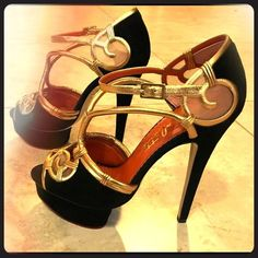 Charlotte Olympia GrecoRoman Platform Heels BRAND NEW/NEVER WORN! *Unique Vintage Hollywood/Greco-Roman Vibe, exquisitely crafted heels by Charlotte Olympia. An elegant/sexy statement- Not just in fashion, in ART! Black suede/antique gold metallic platforms. Pointed toes, rattan open work on vamp, buckle closure, covered 35mm island platform/covered 145mm heel & leather sole with logo detail. *Signature Box & Dust Bag. Made in Italy. *Retail for $1,695. You may make an offer  Charlotte…