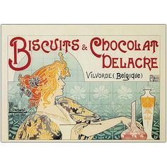 BISCUITS & CHOCOLATE from Charles Delacren Vilvoorde, Belgium => BISCUITS & CHOCOLAT DELACRE Vilvorde, Belgique {} Charles Delacre (Dunkirk (France), June 7, 1826 - deceased) was the founder of the eponymous Belgian brand Delacre cookies. He was also the principal of the - still existing - pharmacy on the Coudenberg in Brussels, built under the direction of architect Paul Saintenoy. PASTRY POSTER => FRENCH Affiches pâtisseries