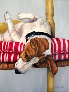 playful young Jack Russell Terrier on her back and head hanging from a chair by Debra Sisson