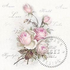 Sagen Vintage Roses Love - Rosa Rosen von Nostalgie Home auf DaWanda.com