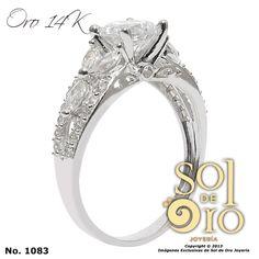 Anillo de compromiso en oro blanco también disponible en oro amarillo 14k RD$9,000