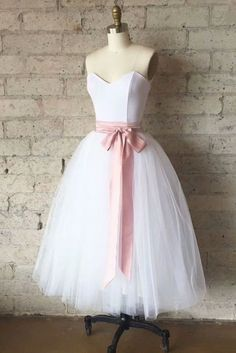 On Sale Morden Homecoming Dresses Simple Simple White Tulle Tea Length Prom Dress, White Bridesmaid Dress White Bridesmaid Dresses, A Line Prom Dresses, Prom Party Dresses, Party Gowns, Evening Dresses, Dress Prom, Vintage Homecoming Dresses, Graduation Dresses, None