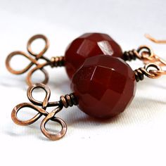 Copper Wire Jewelry Upcycled Red Faceted Beads by KariLuJewelry, $15.00