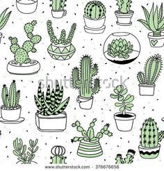 Find Handdrawn Succulents Cactus Doodle Pattern stock images in HD and millions of other royalty-free stock photos, illustrations and vectors in the Shutterstock collection. Succulents Drawing, Cactus Drawing, Drawing Drawing, Pattern Drawing, Drawing Flowers, Doodle Art, Doodle Drawings, Doodle Frames, Cactus Doodle