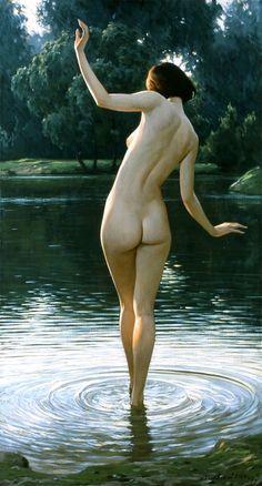 artist, igor sakharov, painting, nude, water, naked, butt