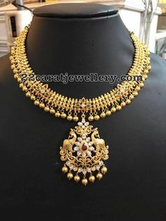45 Gms Simple Necklace with Gold Balls - Jewellery Designs