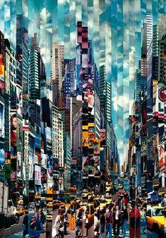Serge Mendjisky, Monotypes, New York Series Walk Don't Walk, 2001 Blue Bridge, 2007 City Collage, Art Du Collage, City Painting, Oil Painting Abstract, Acrylic Paintings, Matte Painting, Urban Landscape, Landscape Art, Art Et Architecture