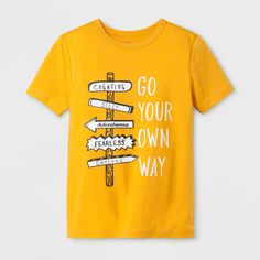 Boys Adaptive Short Sleeve Go Your Own Way Graphic T-Shirt Cat & Jack Mustard Yellow XS - Graphic Shirts - Ideas of Graphic Shirts - Boys' Adaptive Short Sleeve Go Your Own Way Graphic T-Shirt Cat & Jack Mustard Yellow XS T Shirts With Sayings, Cool T Shirts, Funny Shirts, Funny Outfits, Trendy Outfits, Cute Outfits, Mellow Yellow, Mustard Yellow, T Shirt Citations