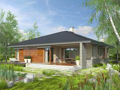 Eris II (wersja C) - projekt domu - Archipelag Stone Driveway, Small House Design, Malaga, Gazebo, House Plans, Exterior, Outdoor Structures, Outdoor Decor, Home Decor