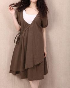 double layer short sleeves cotton linen dress