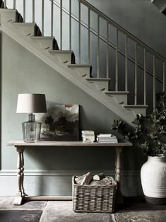 Sage Inexperienced Staircase + sage partitions + inexperienced + inexperienced / grey wall coloration + entryway c… - Hallway Ideas Console Table Styling, Entryway Console Table, Entryway Stairs, Hallway Furniture, Hallway Storage, Neptune Home, Grey Wall Color, Flur Design, Hallway Inspiration