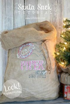 Personalized Santa sack tutorial via lollyjane.com, perfect for the kids gifts on Christmas Day from Santa!!