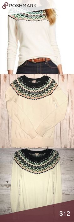 """Cream fair isle Sweater Merona It's Sweater Weather!! This is an adorable Merona brand sweater sold at Target. Medium Women's with a crew neck.  Measurements: from top of neckline to bottom of hem is 22"""" and bust measures 17"""" Merona Sweaters Crew & Scoop Necks"""
