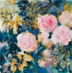 Buy Autumn roses - floral painting in pink and blue, Mixed Media painting by Fabienne Monestier on Artfinder. Discover thousands of other original paintings, prints, sculptures and photography from independent artists. Mixed Media Painting, Mixed Media Canvas, Pastel Watercolor, Watercolor Paintings, Pencil Painting, Paintings For Sale, Original Paintings, Autumn Rose, Pink Plant