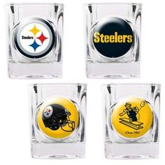 This 4-piece Pittsburgh Steelers square shot glass set will look great in any Pittsburgh fan cave. Each of the 4 glasses is decorated with a different Steelers logo. Each of the four logos show the ev