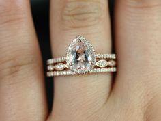 Rosados Box Tabitha and Christie Trio Rose Gold Pear Morganite and Diamond Halo Wedding Set