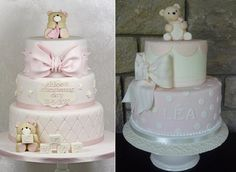 christening cakes for a girl with teddies naming day cakes by Kingfisher Cakes left and Luisa Galuppo right
