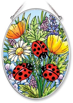 Stained Glass Flowers | Amia Ladybugs and Flowers Stained Glass Suncatcher - Hand Painted Oval