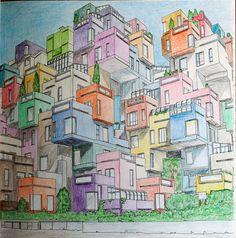 From Fantastic Cities Coloring Book Habitat 67