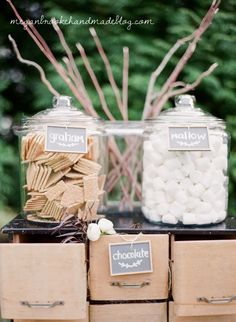 S'mores Station- Outdoor rustic farm wedding- old fashioned sticks for marshmallows idea! Camp Wedding, Our Wedding, Dream Wedding, Wedding Backyard, Wedding Rustic, Wedding Ideas Guests, Rustic Outside Wedding, Outdoor Rustic Wedding Ideas, Summer Wedding Ideas