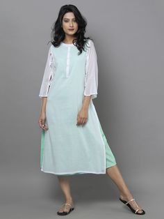 Mint Green Mul Cotton Dress with Stole....cute!