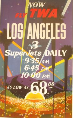 Original Vintage TWA Los Angeles Poster by HodesH on Etsy, $1750.00