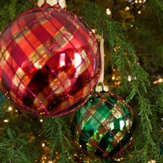 Tartan Swirl Ball Ornaments, Set of 6 | Williams-Sonoma  SWOON