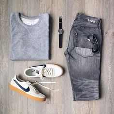 Follow @inisikpe for daily style  #suitgrid to be featured  ________________________________________ #SuitGrid by @mitchyasui ________________________________________  Tap For Brands #inisikpe Sweat Shirt: @stateconcepts x @frankandoak Denim: @gap Shoes: @nike x @jcrew Watch: @seikowatchusa