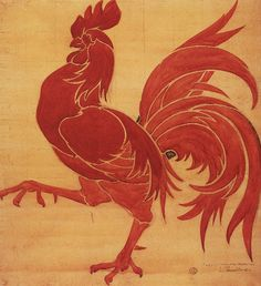 """""""Le Coq Wallon,"""" an original design(drawing) by Pierre Paulus, was adopted in 1913 at the l'Assemblée Wallonne as the Wallon flag"""