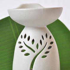 Große Duftöl Lampe Massageöl Wärmer Keramik rau weiß