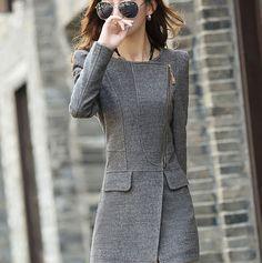Aliexpress.com  Comprar Nueva marca otoño invierno mujeres abrigos delgado  abrigo de lana ocasional e27ed4a11b7