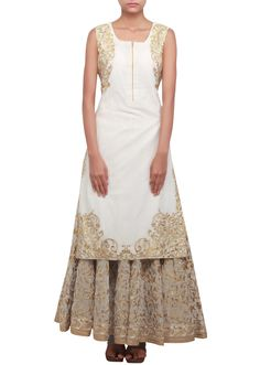 Straight fit suit featuring in cream matched with zari embellished palazzo pants