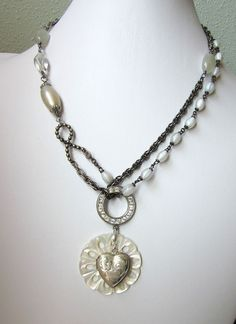 Vintage Sterling Silver Heart Locket Assemblage Necklace by JryenDesigns.etsy.com