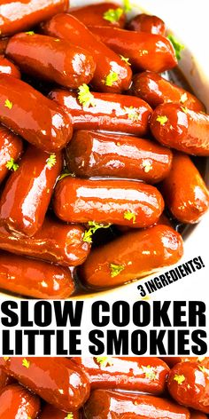 SLOW COOKER LITTLE SMOKIES RECIPE- Easy crockpot lil smokies, homemade with 3 simple ingredients: Grape jelly, bbq sauce and mini sausages. These are the best, sweet, tangy, smoky cocktail weenies appetizer. From SlowCookerFoodie.com Best Slow Cooker, Slow Cooker Beef, Slow Cooker Recipes, Crockpot Recipes, Best Appetizers, Appetizer Recipes, Side Dish Recipes, Side Dishes, Cocktail Weenies