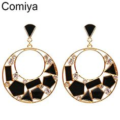 GDSHOP Hollow out gold novelty design shiny crystal acrylic black round women pendientes largos drop earring new women big earings *** You can get more details by clicking on the image.