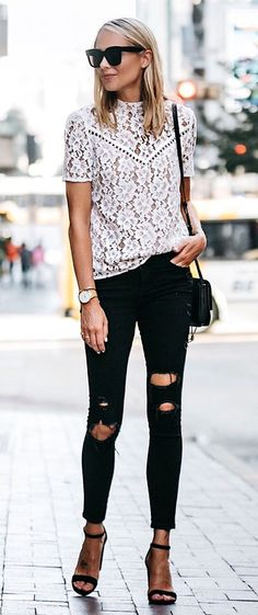 #summer #outfits  Pairing A Feminine Lace Top With Ripped Skinny Jeans Is My Favorite Go-to Look. There's Just Something About This Combination That Looks So Cool!