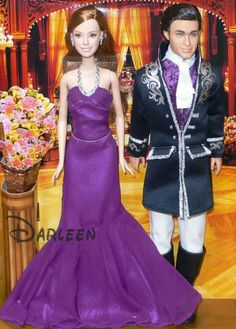 "2007 — 'Mattel' / Disney's ""Enchanted"" movie — 'Giselle & Robert' Barbie Dolls: 'Amy Adams as 'Giselle' & Patrick Dempsey as 'Robert' — Movie scene: ""Enchanted Renaissance Ball""   RARE!"