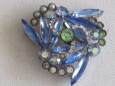 Large Juliana Style Silver Tone Brooch Blue by RicksVintagePlus, $41.00