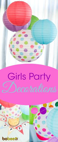 3 BABY BLUE /& POLKA DOT PAPER LANTERNS ~ Birthday Party Supplies Decorations