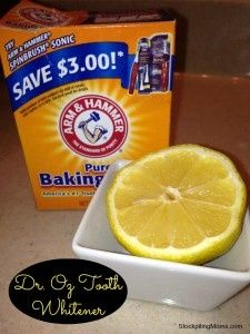 Naturl Teeth Whitener - Dr. Oz    Take 1/4 cup of baking soda and mix it with the juice of 1/2 lemon and then apply it to your teeth with a q-tip. Leave on your teeth for 1 minute then brush. This amount is more than enough for two people. I would actually reduce it to 2 TBSP baking soda with enough juice to make it a consistency to apply.